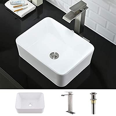 "Rectangle Bathroom Sink and Faucet Combo-WMXQX 16""x12"" Rectangle Bathroom Sink Above Counter White Porcelain Ceramic Bathroom Vessel Vanity Sink Art Basin, Faucet Matching Pop Up Drain Combo"