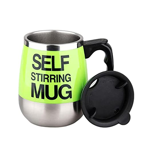 Self Stirring Coffee Mug Cup - Funny Electric Stainless Steel Automatic Self Mixing & Spinning Home Office Travel Mixer Cup 450ml/15oz(green)