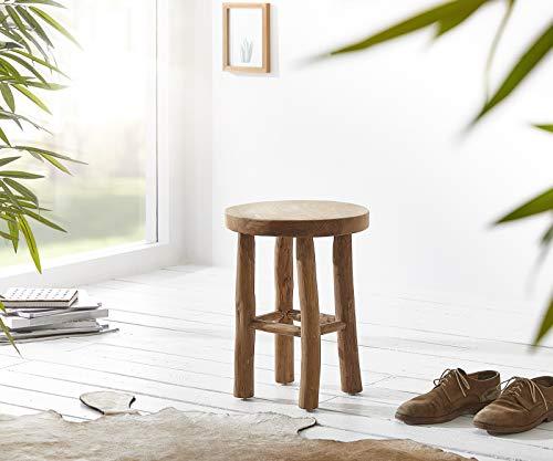 DELIFE Sitzhocker Edeline Teakholz 36x36 cm Massiv mit 4 Beinen Beistelltisch