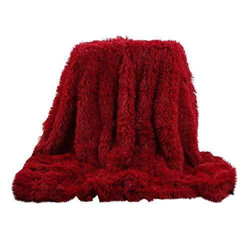INLLADDY Kuscheldecke Flauschige Decke Doppelte Fleecedecke Langer Plüsch + kurzer Plüsch weich warm Wohndecke in Wohnzimmer Sofadecke Rot 120 x 80 cm