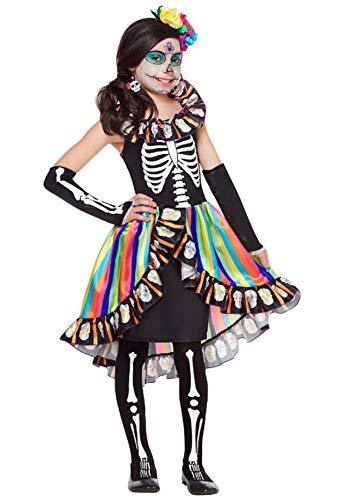 Forever Young Girls Kids Día de los Muertos Disfraz Sugar Skull Kids Esqueleto Halloween Disfraces de Miedo 4-6 años