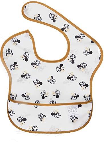 bumkins(バンキンス) ディズニーコラボビブシリーズ 油が落ちるスタイ【日本正規品】スーパービブ 柔らかくて軽量 洗濯機で洗えてすぐ乾く お食事用防水ビブ 6~24ヶ月 Minnie Mouse Faces B+W(ホワイト) ワンサイズ BM-SDMN16