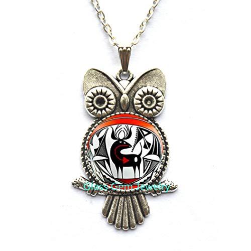 Ureinwohner Indianer Eule Halskette, Indianer Hirsch Kunst Anhänger, Südwestern Schmuck, Tribal Ethnische Eule Halskette, Herren Eule Halskette, Q0079