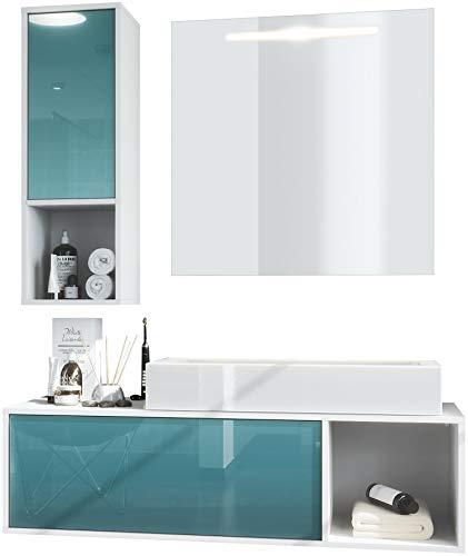 Conjunto de Muebles para baño La Costa, Cuerpo en Blanco Mate/Frentes en petróleo de Alto Brillo con Lavabo y Espejo LED