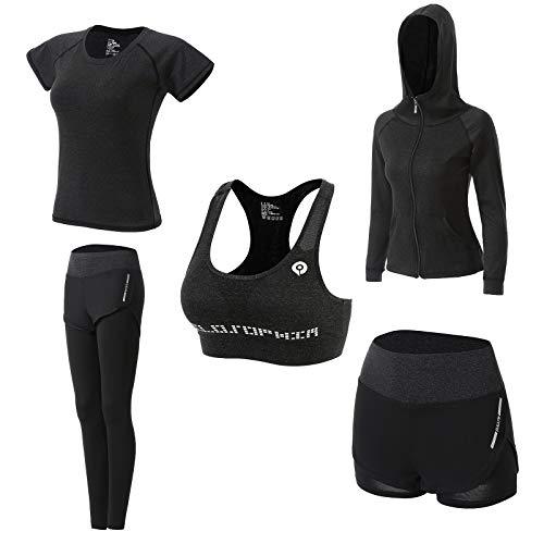 Abbigliamento Sportivo da Donna, T-Shirt 5set Suit per Sport Yoga Ginnastica Sport Include Manica Lunga e Corta, Pantaloni, Reggiseno, Morbido e Traspirante Confortevole (Grigio Scuro, XL)