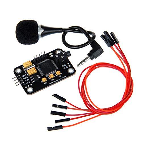 Alicer High Sensitivity Voice Recognition Module con Microfono, Controllo Cavo di Collegamento modulo di riconoscimento vocale, Jumper Wires for Arduino, Nero, Taglia Unica