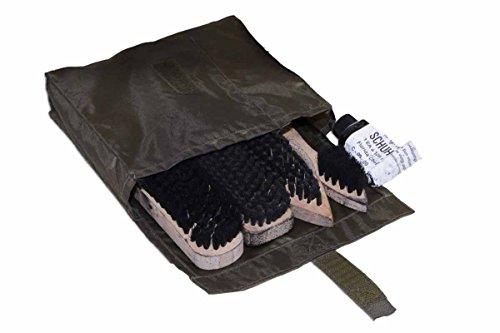 Original Bundeswehr Schuhputzset Putzausrüstung Schuhputzbeutel Gebraucht mit 4 Bürsten und Creme