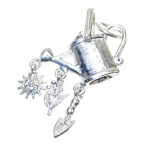 Bewässerung Can Set Pik Sonne Blume St Silber Charm .925 X1 Gartenarbeit Charms EC802