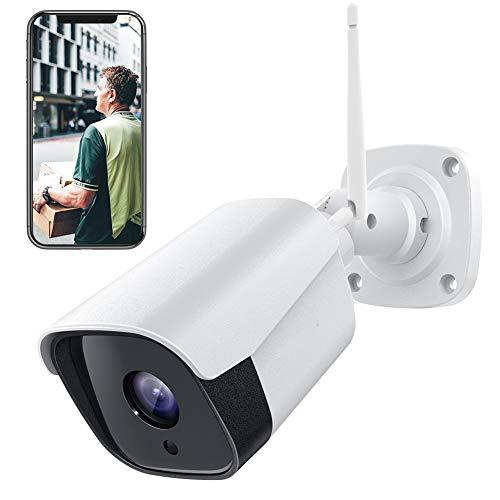 PC730 1080P Telecamera WiFi esterno, Telecamera di Sorveglianza con Rilevamento di Suoni e Movimenti Telecamera IP con IP66 Visione Notturna Impermeabile 2 Vie Audio Funziona con Alexa