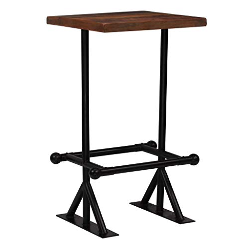 Festnight Bartisch Stehtisch | Massivholz Tischplatte und Stahlbeine | Beistelltisch für Bistro Bar küche, Altholz Massiv Dunkelbraun 60 x 60 x 107 cm