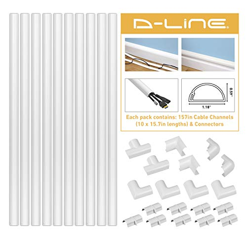 D-Line Cord Cover Kit, 10x 15.7in Self-Adhesive Wire Hider Channels and Accessories, Cable Raceway to Hide Wires on Wall, Cable Management - 13FT Total Cord Coverage, Medium