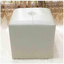 Cube Upholstered Footstool Ottoman Pouffe Chair Faux Leather Tea Table Sofa Stool (Color : Off-White)