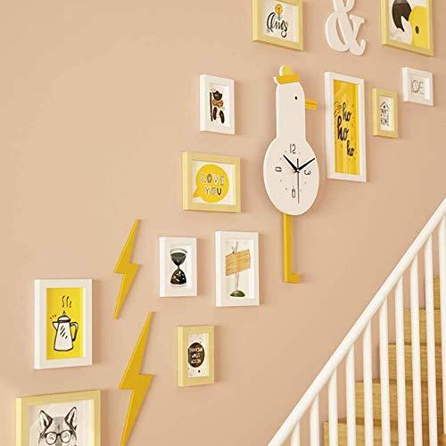 Juego de pared de fotos de escalera de dibujos animados con reloj mecedor, combinación de marcos de...