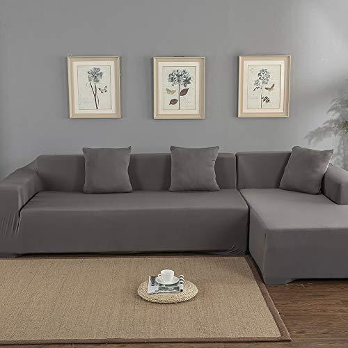 Funda de sofá esquinera elástica con chaise longue de 3 + 2 plazas, funda de sofá con chaise longue a la izquierda/derecha de poliéster, fácil de limpiar, en forma de L (gris)