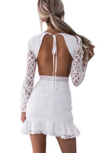 Loalirando Damen Schönes Spizenkleid Etuikleid Rückenfrei Kleid Festlich Hochzeitkleider Kurz Weiß (M, Weiß)