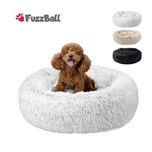 FuzzBall Fluffy Luxe Pet Bed, Anti-Slip, Waterproof Base, Machine Washable, Durable – 3 Colors Available