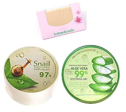 SoltreeBundle Korean Skincare 2pcs Snail & Aloe Vera Soothing Gel Moisture 300ml/10.56oz with SoltreeBundle Natural Hemp Paper 50pcs
