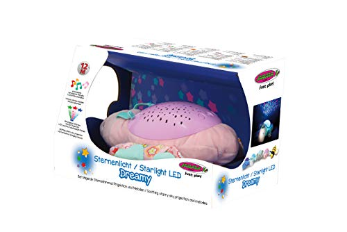 JAMARA 460433 - Sternenlicht Dreamy Schmetterling - Sternenhimmel Projektion, Stern-/ Mondmuster, LED wechselnde Farben, beruhigende Melodien, Licht EIN/aus, Abschaltautomatik, pink