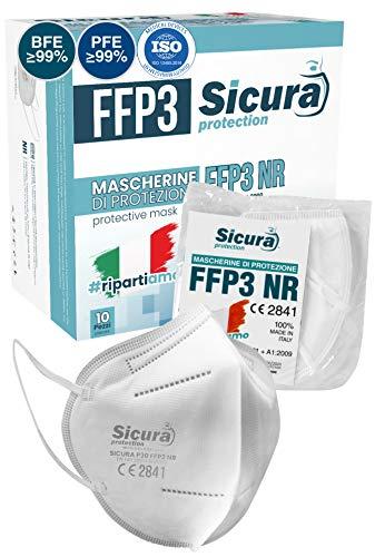 Mascarillas FFP3 Homologadas fabricadas en Italia. 10x Mascarilla ffp3 certificada CE Sanitizada. ISO dispositivo médico | BFE ≥99% | PFE ≥99% | Paquete de mascaras 10 unidades.
