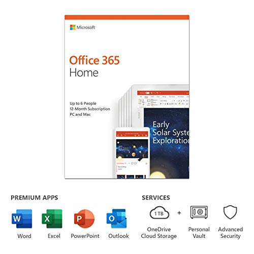 Microsoft Office 365 Home | up to 6 users | 1 year | PC/Mac | box|Home - 6 users|6|1 Year|PC|Disc