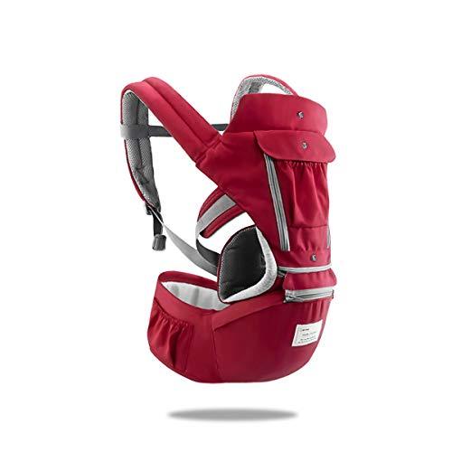SONARIN 3 in 1 Multifunktion Hipseat Baby Carrier, Babytrage, Vorder und Rückseite,100% Baumwolle,Ergonomisch,Freie Größe(Rot)