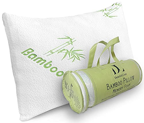 Bamboo Pillow for Sleeping - Cooling Shredded Memory Foam Bed Pillows with Hypoallergenic Covers - Relieves Neck Pain, Snoring and Helps with Asthma - Back/Stomach/Side Sleeper (Bamboo, Queen)