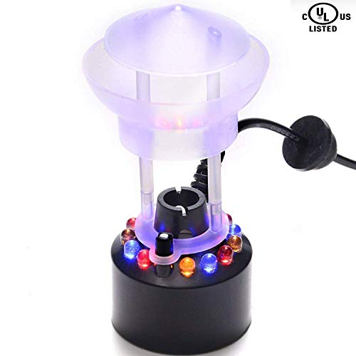 FITNATE Mist Maker, 12 LED Mister Fogger Water Fountain Pond Fog Machine Atomizer Air Humidifier, Mini Size Large Capacity of Mist,with Splash Guard, Perfect for Halloween and Other Holidays