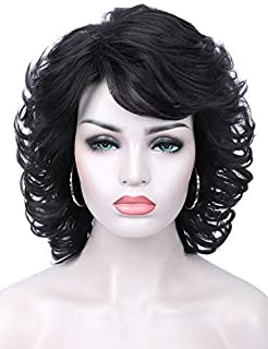 Kalyss Short Black Curly Wavy Premium Synthetic Hair Wig for Women Heat Resistant Synthetic Wigs with Hair Bangs Costume or Daily Hairpiece