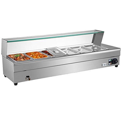 VEVOR Gastronomie Behälter Edelstahl 1500 Watt Speisenwärmer 6 Pfanne Wärmebehälter für Essen Chafing Dish Warmhaltebehälter Edelstahlkörper mit Glasabdeckung Warmhaltebox Tischwärmer