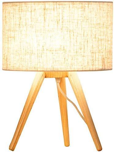 ZHANGYY Lámpara de Escritorio de Madera Maciza, Pantalla de Tela de Lino, lámpara de Mesa Decorativa con Personalidad de cabecera de Dormitorio cálido (Color: Gris)