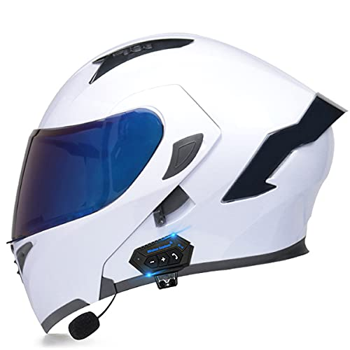 YALIXING Bluetooth Integrado Casco De Moto Modular De Cara Completa Abatible con HD Doble Visera Casco Moto Integrales Certificación ECE para Hombres Y Mujeres Adultos(Size:M(57-58CM),Color:Blanco-C)