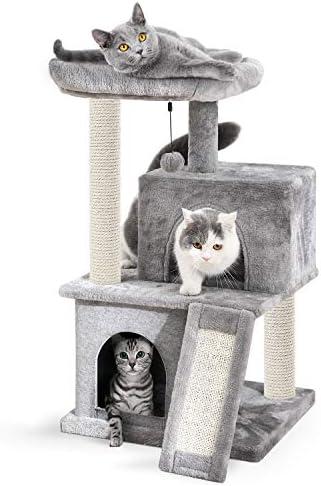 Amazon Brand–Eono Árbol para Gatos con Postes de sisal Natural y Bola de Juguetes. Gris