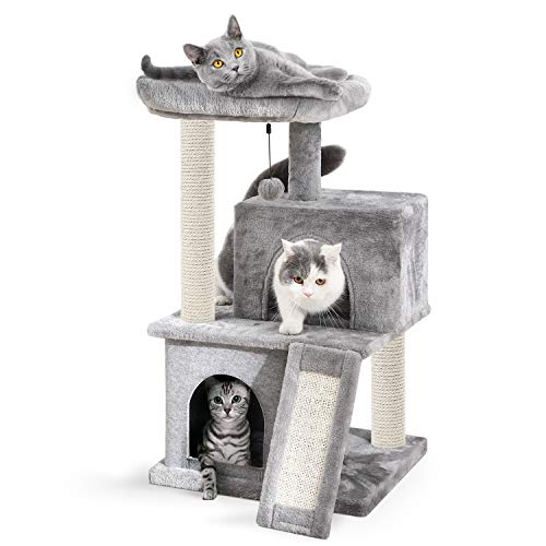 Eono by Amazon - Cat Tree Sisal Scratching Post Kitten Furniture Plush Condo Playhouse with Dangling Toys Cats Activity Centre Grey