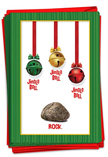 NobleWorks - 12 Adult Merry Christmas Cards Boxed - Funny Holiday Humor Greetings, Bulk Notecard Set (1 Design, 12 Cards) - Jingle Bell Rock B5954