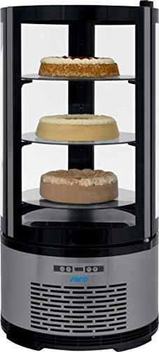 Gastro Spirit - Kuchenvitrine schwarz mit Edelstahlblende/mit 3 höhenverstellbaren Glasböden/100 Liter Kühlteil/doppelverglast