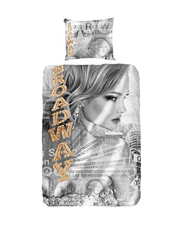 Good Morning! 5033-P Broadway Girl Special Edition bettwäsche mit Frau un Tekst, 100% Baumwolle, Grey, 200x135x0.5 cm