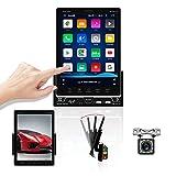 OiLiehu Double DIN Bluetooth Car Radio, 9.5 Pulgadas de Pantalla Vertical Android Car Radio MP5 Player con cámara de visión Trasera Compatible con WiFi/GPS/FM/MirrorLink/Control del Volante &1GB+16GB
