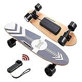 Nesaila Skateboard électrique 70 cm, Longboard en érable 7 Couches avec télécommande sans Fil, Skateboard pour Les Adolescents et Les Adultes,Vitesse Vaximale 20 km/h, Moteur Singal 350W (Noir)
