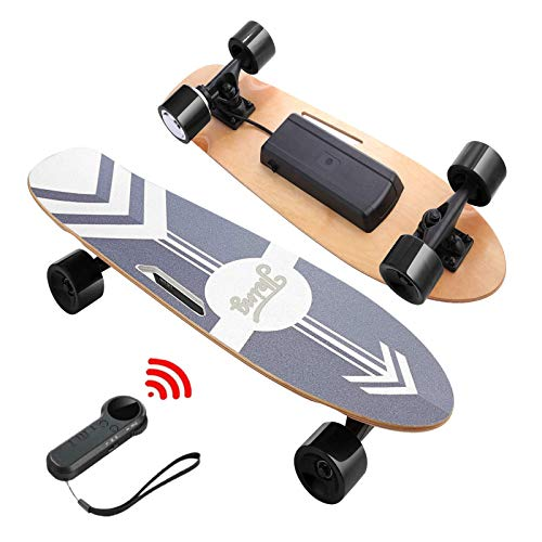 DEVO Electric Skateboard, 12 MPH Top Speed, 350W Singal Motor, 10 Miles Range, Load up to 220Lbs,7 Layers Maple Longboard, Wireless Remote E-Skateboard for Adult Teens