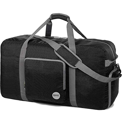 24' Foldable Duffle Bag 60L for Travel Gym Sports Lightweight Luggage Duffel By WANDF (32 inches (100 Liter), Black 32'')