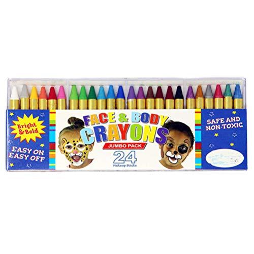 FRCOLOR Crayons de Couleur pour Le Visage 24 Couleurs Crayons de Couleur pour Le Visage Et Le Corps Crayons de Maquillage Halloween pour Enfants Filles Femmes Hommes 1Set