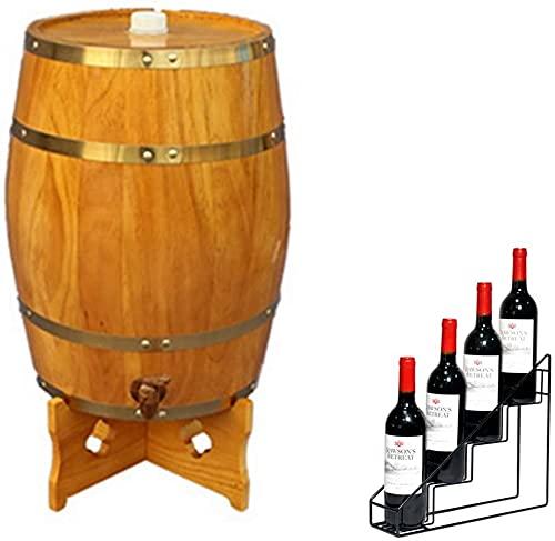 WSVULLD Dispensador de whisky Whisky Barrel Barrel 30L Barril de envejecimiento de roble vertical con forro de aluminio con estante de vino Adecuado para almacenar vino, vinagre, salsa picante (color: