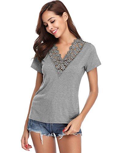 Damen T Shirt Leicht Sexy V Ausschnitt Kurzarm Shirt mit Spitze Kragen Loose Sommer Top