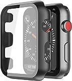 YoLin [2-Stück] Mit Panzerglas Superdünne Bildschirmschutz Kompatibel mit Apple Watch Series 3 Schutzhülle, PC All-Aro& Schutzhülle für iWatch 38mm (2 Schwarz)