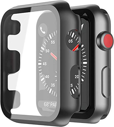 YoLin [2-Stück] Mit Panzerglas Ultradünne Displayschutz Kompatibel mit Apple Watch Series 3 Schutzhülle, PC All-Around Schutzhülle für iWatch 42mm (2 Schwarz)