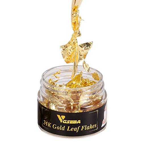 VGSEBA Fiocchi di Foglia d'oro genuini commestibili, 25 MG di Fiocchi d'oro 24K Piatti Decorativi, Foglia d'oro Genuina per Cucinare, Torte, Vino, Decorazioni Alimentari
