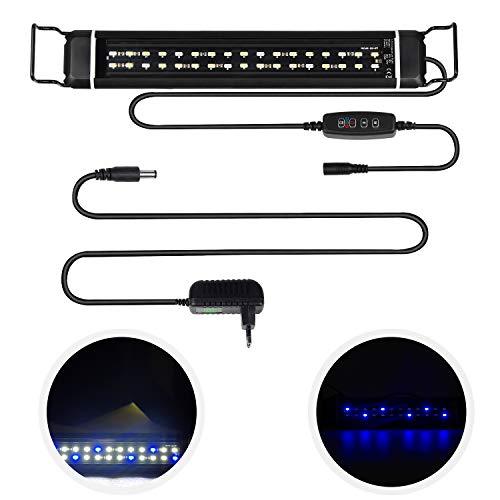 CPROSP Éclairage LED Aquarium avec minuterie, avec 3 couleurs de lumière réglables blanc/bleu/bleu + blanc, pour aquariums 46cm-63cm, 24W, Noir