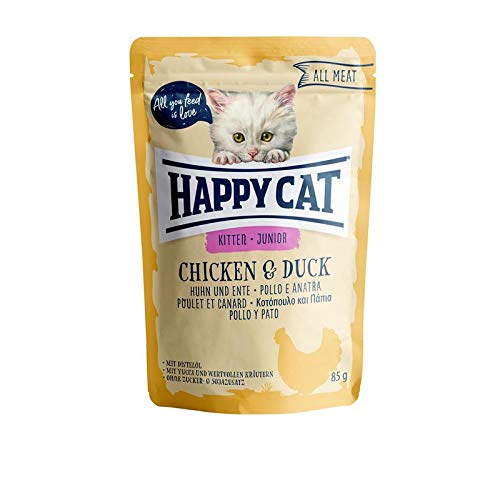 Happy Cat All Meat Junior Huhn & Ente | 24x 85g Katzenfutter nass