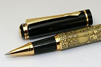 GOLD LEAF Baoer Chinese Horse M Nib Roller Pen for Gift (Golden)
