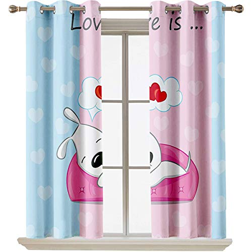 "Dog Lover Decor best home fashion thermal insulated blackout curtains Puppy Dreaming on the Sofa with Heart Symbol on Background Valentine Artwork Grommets Curtain Door Panel W63""x L45"" Blue Pink Whi"